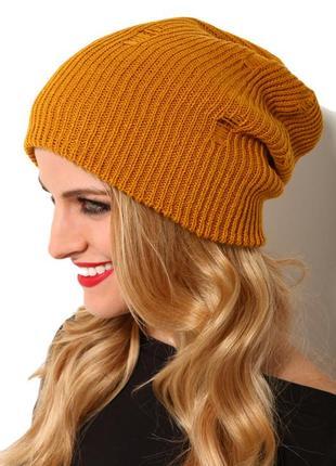 Тёплая вязаная шапка бини  горчичного цвета 100% шерсть зимняя шапка hand made