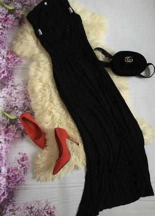Чёрное платье в пол длинное
