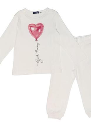 Новая белая пижама с принтом для девочки, original marines, 3774