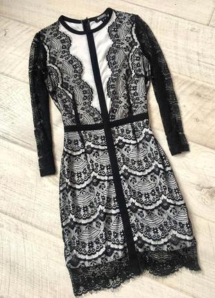 Вечернее черное кружевное платье гипюровое