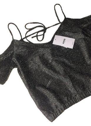 Эффектная блестящая блузка майка блуза футболка топ с открытыми плечами без плечей