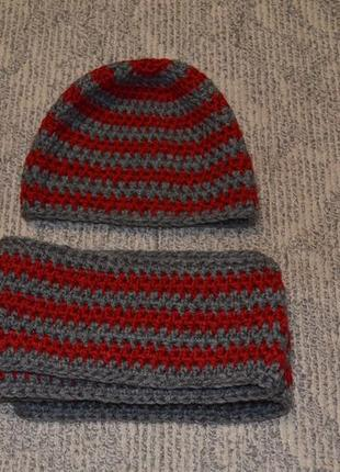 Комплект шарф і шапка / в'язаний набір  шарф + шапка