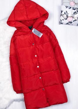 Мега крутий оверсайз пуховик кокон \ удлиненный красный пуховик зимняя куртка boohoo