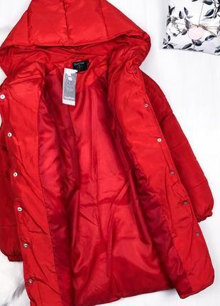 Мега крутий оверсайз пуховик кокон \ удлиненный красный пуховик зимняя куртка boohoo5