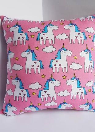 Декоративная подушка, двухсторонняя хлопок и плюш - единороги