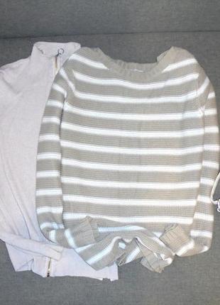 Вязаный свитер в полоску джемпер кофта