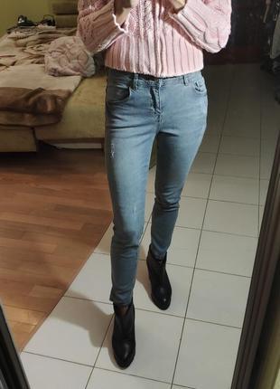 Светло-серые укороченные джинсы lc waikiki скинни 26 размер xs-s посадка средняя6 фото