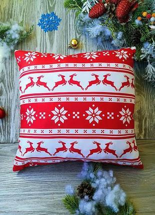 Подушка новогодняя олени