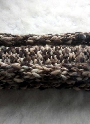Шарф вязанный снуд крупной вязки нюдовых цветов с косами беж персиковый коричневый серый