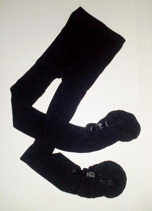 34-36р. чёрные лосины-колготки с атласными подвязками