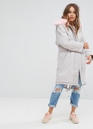 7f92420ade7 Зимняя оверсайз серая парка куртка пальто с розовым меховым капюшоном от  asos !