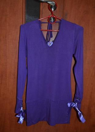 Туника блуза фиолетовая для беременных трикотаж размер м