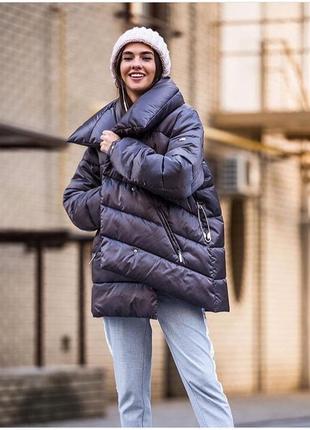 Куртка короткая оверсайз зимняя с булавкой тёплая все размеры