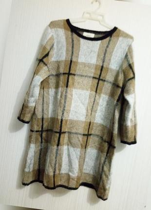 Тёплое платье туника клетка эффект мохера