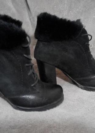 Кожаные зимние ботинки 35,5 -36 р
