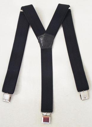 Черные широкие мужские подтяжки 4 см. (польша)