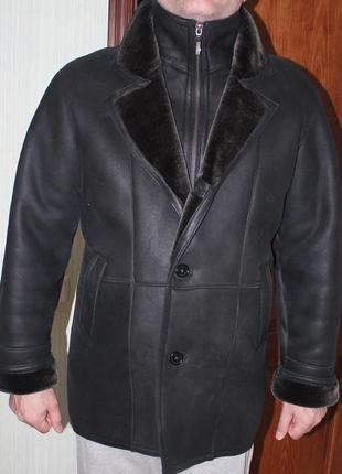 Дубленка мужская натуральный мех шуба черная зима