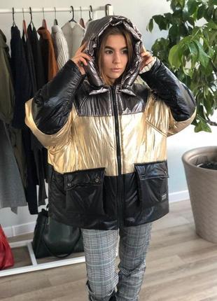 Куртка теплая футуристический металлик черный низ