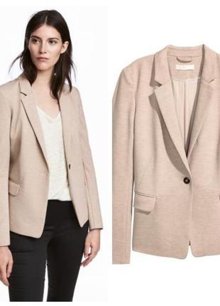 Стильный нежный пиджак жакет блейзер пудрового цвета h&m