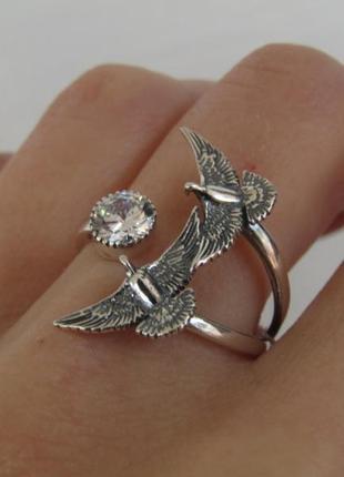 Серебряное кольцо голуби
