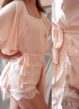 """Одежда для сна ручной работы """"пудра"""" пижама и халат"""