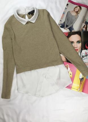 Кофта в рубчик джемпер с воротником свитер с рубашкой кофта блуза