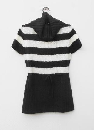 Осенний зимний  вязаный свитер под горло с коротким рукавом chris line casual
