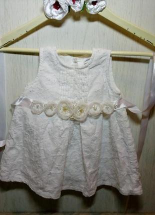 Біла сукня 3-6 місяці ( белое платье 3-6 месяца) + пояс ручної роботи