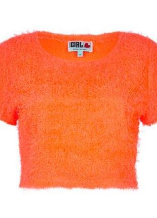 """Брендовая оранжевая яркая неоновая кофта свитер топ """"травка"""" river island великобритания"""