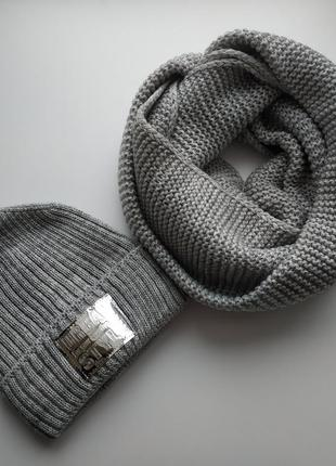 Комплект шапочка и снуд, one size, 50% шерсть, 50%  акрил
