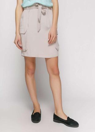 Бежевая юбка с карманами promod, франция