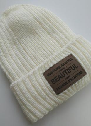 Теплая шапочка на флисе, 50% шерсть
