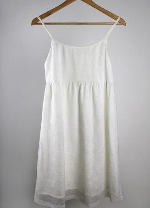 Белоснежное платье в бельевом стиле - туника, кружево - хлопок, ручная работа