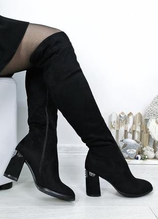 35 36 ботфорты сапоги высокие зимние за колено каблук вставки серебра