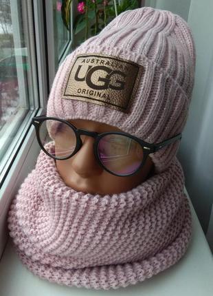 Новый комплект: шапка с люрексом (на флисе) и хомут восьмерка, розовая пудра