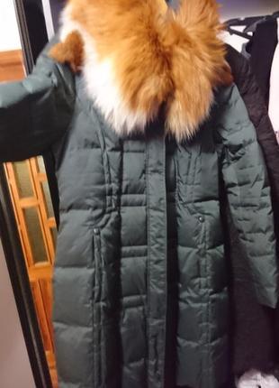 Шикарный фирменный пуховик snow owl, мех лиса, р 48-50 xl