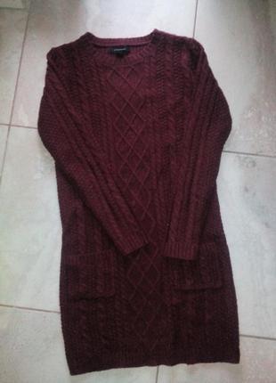 Вязаное теплое платье туника