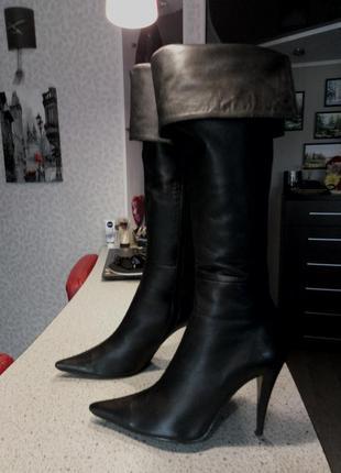 Кожаные сапоги ботфорты на шпильке, 26,5 см по стельке