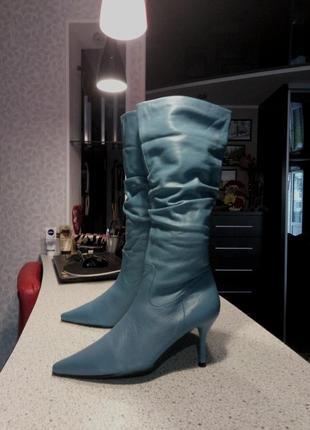 Синие кожаные сапоги на шпильке, 26 см по стельке