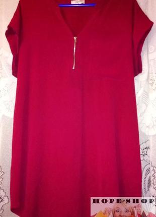 Яркая  туника ,легкая блузка цвета вино 16