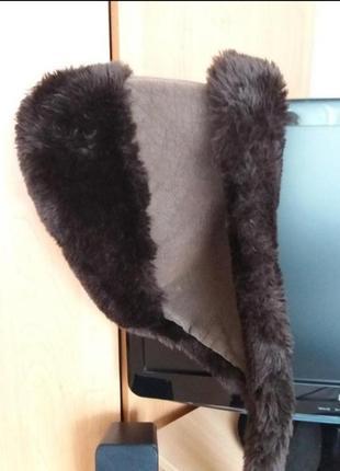 Очень красивая зимняя шапка для девочки под дубленку шубу шоколадного цвета