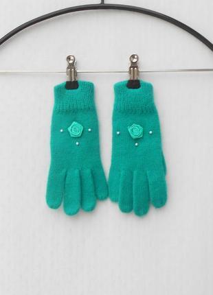 Осенние вязаные женские перчатки
