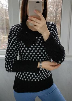 Черный свитер в горошек с бантом/тёплый свитер
