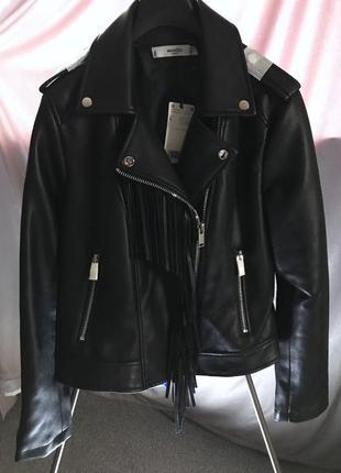 Куртка с бахромой кожанка черная манго размер - л байкерская с корсетом лацканами