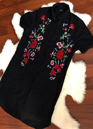 Натуральное платье -рубашка с вышивкой