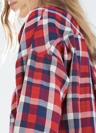 Теплая рубашка zara сочная красивая красно синяя клетка размер с-m-l