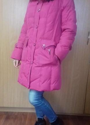 Пуховик розовый яркий с мехом