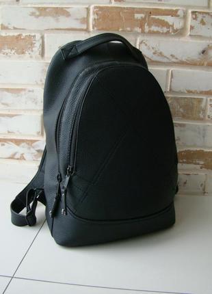 Стильный кожаный рюкзак + подарок/ черный рюкзак/ кожаный рюкзак