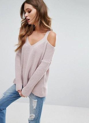 🌿 пудровый свитер с открытыми плечами от new look