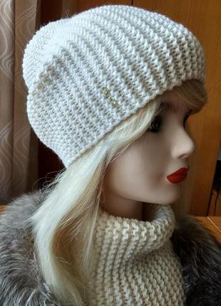 Комплект шапка бини и снуд из 100% кашемира